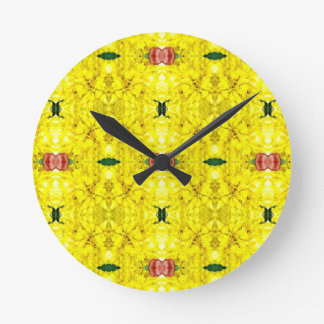 Cool Yellow Red Modern Tribal Pattern Wall Clocks