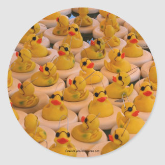 Cool Yellow Rubber Ducks Funny Sticker Label