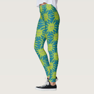 Cool Yellow Sun All Over Pattern Blue Leggings