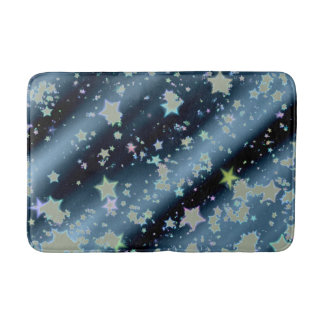 Cool yellow white stars starry night bath mat