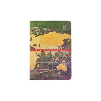cool yellow world map with name, travel passport holder