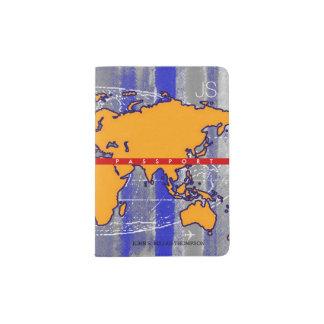 cool yellow worldmap with blue stripes, travel passport holder