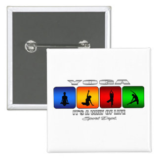 Cool Yoga It Is A Way Of Life 15 Cm Square Badge