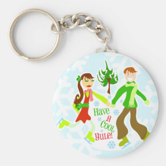 Cool Yule Too Basic Round Button Key Ring