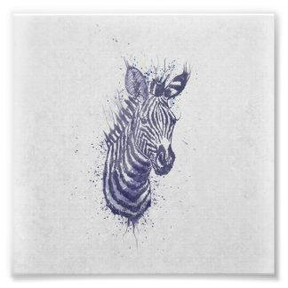 Cool zebra animal watercolour  splatters  paint photo art