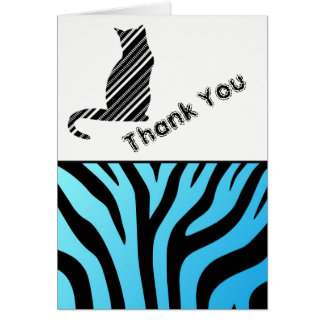 Cool  Zebra  Stripe And Cat Thank You Card