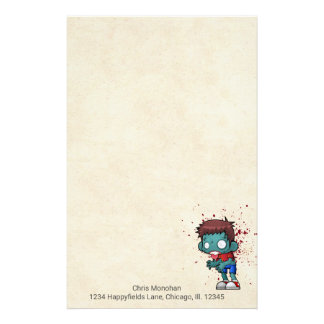 Cool Zombie Dude with Blood / Paint Splatter Personalized Stationery