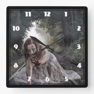 Cool Zombie Girl Square Wall Clock