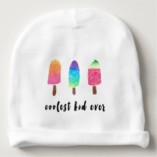 Coolest Kid Ever Colorful Watercolor Popsicles Baby Beanie