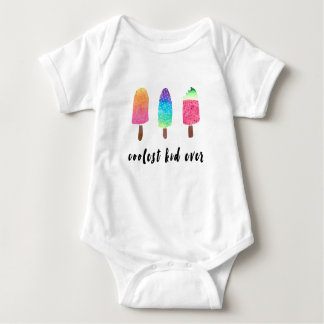 Coolest Kid Ever Colorful Watercolor Popsicles Baby Bodysuit