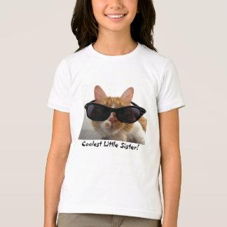 Coolest Little Sister Cool Cat Girls T-Shirt