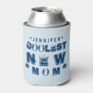 Coolest NEW MOM Grunge Text B04 Can Cooler