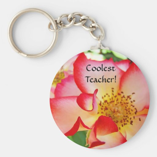Coolest Teacher! keychain Red White Rose Flower