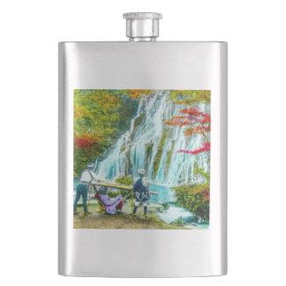 Coolies and a Geisha Vintage Old Japan Waterfalls Flask