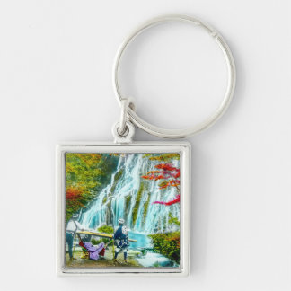 Coolies and a Geisha Vintage Old Japan Waterfalls Silver-Colored Square Key Ring