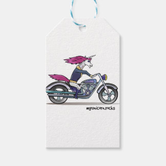 Coolly unicorn on motorcycle - bang-hard unicorn gift tags