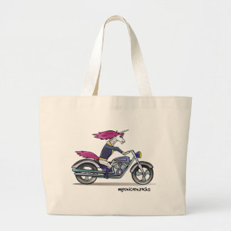Coolly unicorn on motorcycle - bang-hard unicorn large tote bag