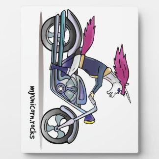 Coolly unicorn on motorcycle - bang-hard unicorn plaque