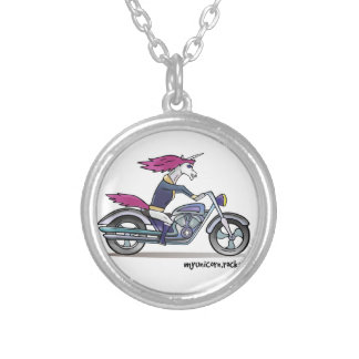 Coolly unicorn on motorcycle - bang-hard unicorn silver plated necklace