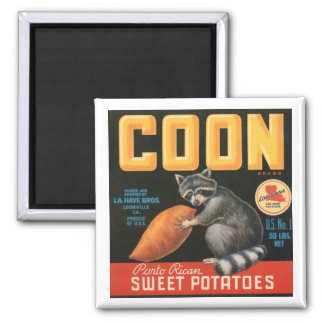 Coon Brand Sweet Potatoes Vintage Crate Label - Ra Square Magnet