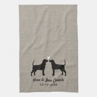 Coonhound Silhouettes with Heart and Text Tea Towel
