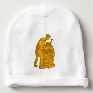 Cooper Making Wooden Barrel Drawing Baby Beanie