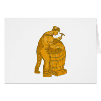 Cooper Making Wooden Barrel Drawing Card
