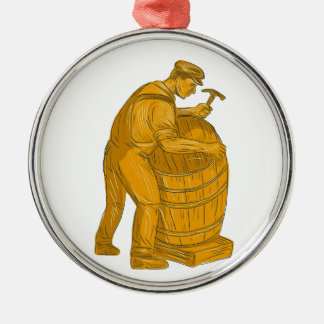 Cooper Making Wooden Barrel Drawing Metal Ornament