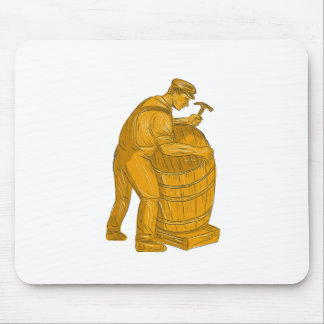 Cooper Making Wooden Barrel Drawing Mouse Pad