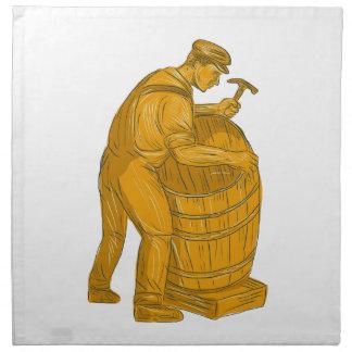 Cooper Making Wooden Barrel Drawing Napkin