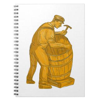 Cooper Making Wooden Barrel Drawing Notebook