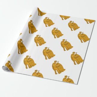 Cooper Making Wooden Barrel Drawing Wrapping Paper