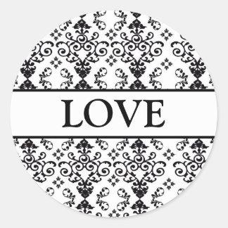 Coordinating Heart Damask Envelope Seals Round Sticker