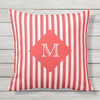 Coordinating Salmon Stripes and Monogram Throw Pillow
