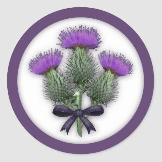 Coordinating Scottish Thistles with Tartan Bow Round Sticker
