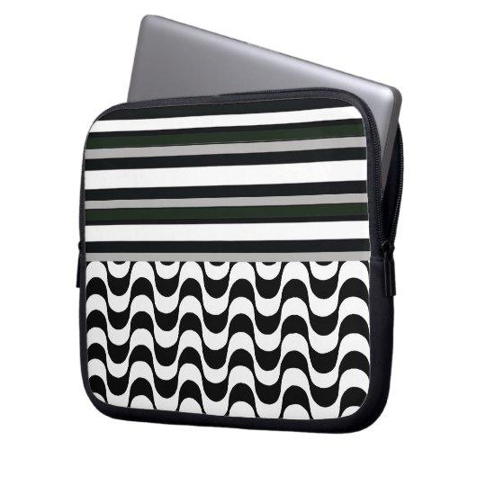 Copacabana sidewalk and stripes laptop sleeve