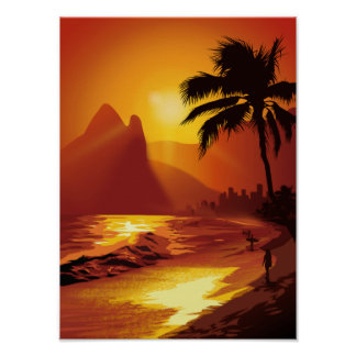 Copacabana Tropical Beach Poster