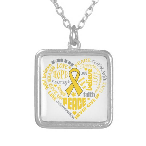 COPD Awareness Heart Words (Gold) Personalized Necklace