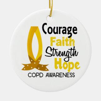 COPD Courage Faith 1 Ceramic Ornament