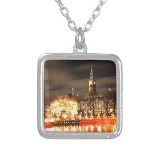 Copenhagen, Denmark at Christmas Silver Plated Necklace