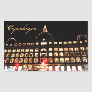 Copenhagen, Denmark at night Rectangular Sticker