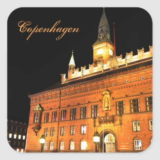 Copenhagen, Denmark at night Square Sticker