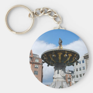 Copenhagen Denmark, Caritas Well Fountain Basic Round Button Key Ring