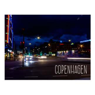 Copenhagen Denmark city at night postcard
