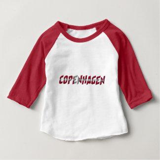 Copenhagen Denmark Danish Flag Colors Typography Baby T-Shirt