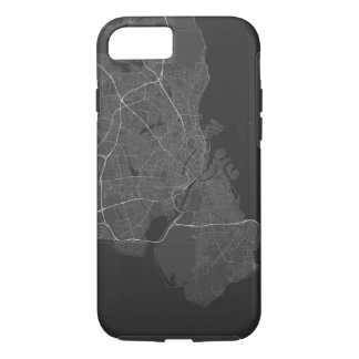 Copenhagen, Denmark Map. (White on black) iPhone 8/7 Case