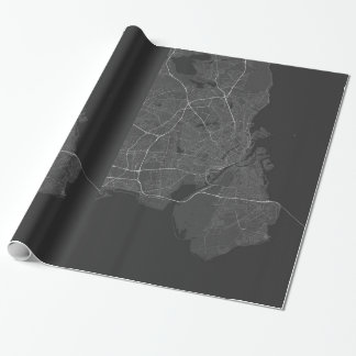 Copenhagen, Denmark Map. (White on black) Wrapping Paper