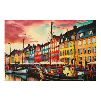 Copenhagen Harbour Wood Canvas