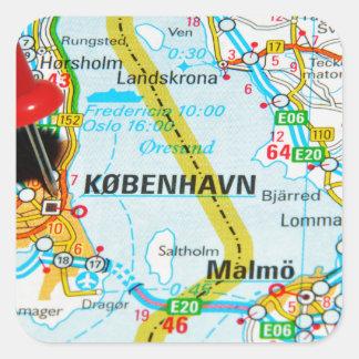 Copenhagen, København in Denmark Square Sticker