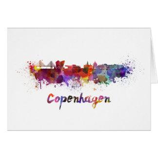 Copenhagen skyline in watercolor card